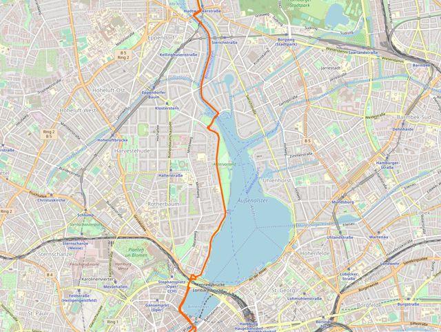Auf der Fahrradroute 4 durch Rotherbaum und Harvestehude, Hamburg